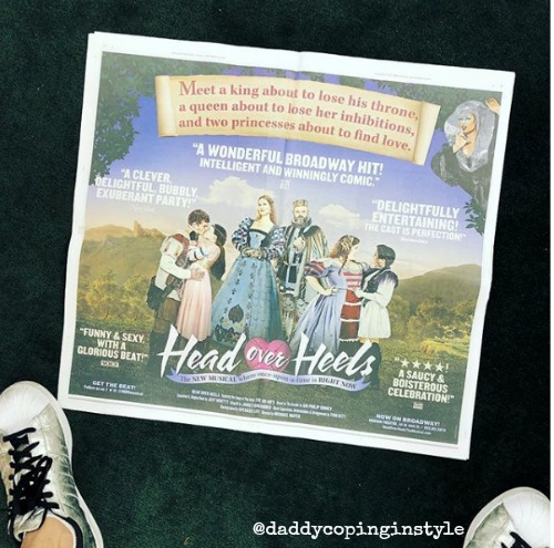 News paper advertisement for Broadway musical Head Over Heels
