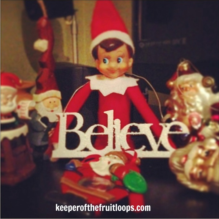 Elf on The Shelf with Christmas decorations